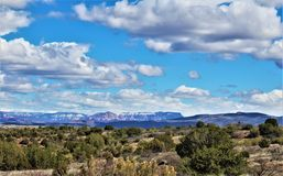 Landscape Scenery, Interstate 17, Phoenix to Flagstaff, Arizona, United States. Spring landscape scenery view of the mountains and area vegetation from royalty free stock image