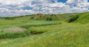 Spring landscape with small river Sura in Ukraine Royalty Free Stock Images
