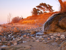 Spring landscape with small waterfall Stock Image