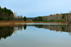 Spring landscape. Spring reflected in the river. Siberian river royalty free stock images
