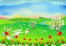 Spring landscape with storks,. Landscape of flowering trees, storks and the river Royalty Free Stock Image