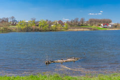 Spring landscape with Suha Sura river in Vasylivka village near Dnepr city, central Ukraine Stock Photos