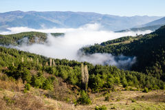 Spring landscape during the sunrise with foggy on Koroglu mountains. Stock Image