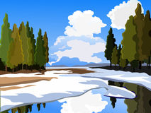 Spring landscape.  Thawed patches. Lake and mountains. Clear weather. Spring landscape. Vector background. Thawed patches. Lake and mountains. Clear weather Royalty Free Stock Photography