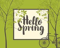 Spring landscape with trees, bike and inscription. Vector landscape in retro style on the spring theme with the inscription Hello Spring, trees and bike on green Royalty Free Stock Photography