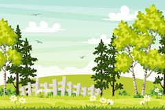 Spring landscape with trees and fence Royalty Free Stock Photography