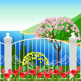 Spring landscape with tulip flowers. Royalty Free Stock Images