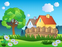 Spring landscape with two houses Stock Image