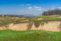 Spring landscape in Ukraine near Dnepr river. In Dnepropetrovsk city area royalty free stock image