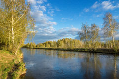 Spring landscape at the Ural river with birch, Russia Royalty Free Stock Images