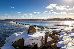 Spring landscape on the Ural river with a rollover, Russia Royalty Free Stock Images