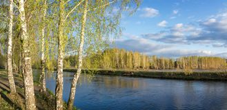 Spring landscape at the Ural river, Russia, Ural royalty free stock photos