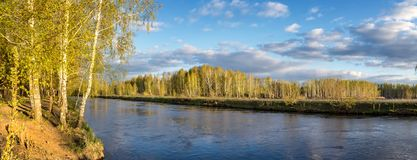 Spring landscape at the Ural river, Russia, Ural stock photo