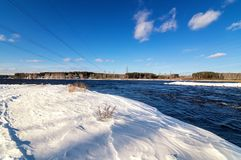 Spring landscape on the Ural river, Russia, royalty free stock photography