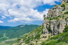 Spring landscape in Valley of Ghosts in Crimean mountains Stock Images