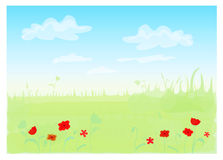 Spring landscape. Vector illustration of spring landscape with poppy and clouds Royalty Free Stock Photo