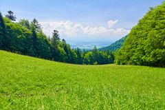 Spring landscape. View from mountain pass. Royalty Free Stock Photography
