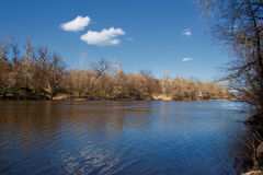 View of the river Seversky Donets beautiful blue sky. Spring landscape view of the river Seversky Donets beautiful blue sky near Svyatogorsk Lavra Stock Photography