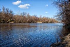 Spring landscape. View of the river Seversky Donets beautiful blue sky near Svyatogorsk Lavra Stock Photos