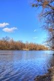 Spring landscape. View of the river Seversky Donets beautiful blue sky near Svyatogorsk Lavra Royalty Free Stock Photos