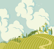 Spring landscape with Village on the hill. S and sky with clouds Stock Photos