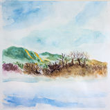 Spring landscape. Watercolor. Trees, river, sky Stock Photo