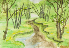 Spring landscape, watercolours. Hand painted picture, watercolours, spring landscape - little river in forest Stock Photo