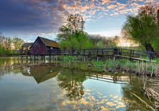 Spring landscape with watermill Royalty Free Stock Photo