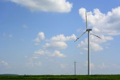 Spring landscape with wind turbine Stock Image