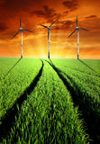 Spring landscape with wind turbines Royalty Free Stock Image
