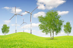 Spring landscape. With wind turbines Royalty Free Stock Photo