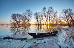 Spring Landscape With Wooden Boat Stock Image