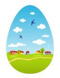 Spring landskap i form av påskägget Royaltyfri Bild