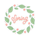 Spring leaf and flower wreath Stock Images
