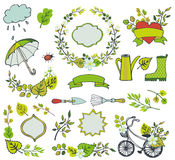 Spring leaves ,branches,flowers.Plant decorations. Spring elements.Vector Leaves ,tree branches,flowers,garden tools,bike,ribbons and labels and badges shapes Royalty Free Stock Image