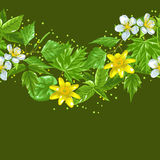 Spring leaves and flowers. Seamless border with plants Stock Image