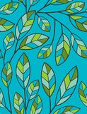 Spring leaves - seamless pattern. Floral seamless pattern with styled leaves Stock Photos