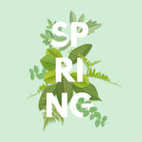 Spring letter with leaves Royalty Free Stock Photos