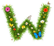 Spring letter W. Fresh grass spring letter W with blooming flowers and butterflies, isolated on white background stock illustration