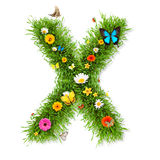 Spring letter X. Fresh grass spring letter X with blooming flowers and butterflies, isolated on white background stock illustration