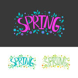 Spring lettered logo set. Collection of Spring Icon. Isolated vector illustration. Graphic Design season logo. Spring lettering decorative elements set. Pink and Stock Photography