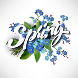 Spring lettering illustration Stock Photography