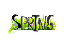 Spring lettering at realistic grass stock illustration