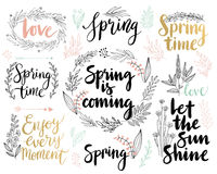 Spring Lettering set - hand drawn Stock Image