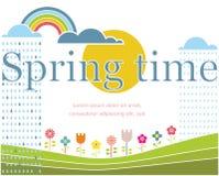 Spring lettering on spring landscape. Vector illustration. Royalty Free Stock Image