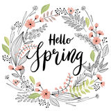 Spring Lettering with wreath - hand drawn Stock Images