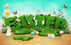 Spring Letters Easter. Fantasy spring poster or greeting card with the nature of letters for Easter . Computer graphics.n stock illustration