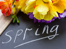 Spring letters with flowers Royalty Free Stock Photos