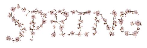 SPRING letters isolated on white background Royalty Free Stock Images