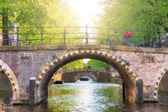 Spring light bridge Stock Image